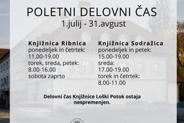 POLETNI DELOVNI ČAS 1.7.-31.8.